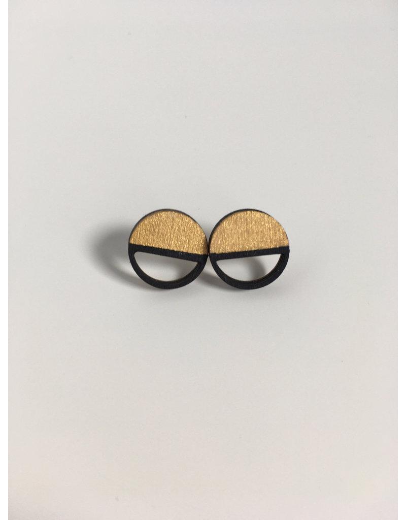 MonaLisa Juwelen Oorstekers 'Emptyfull' - groot - goud - 20mm