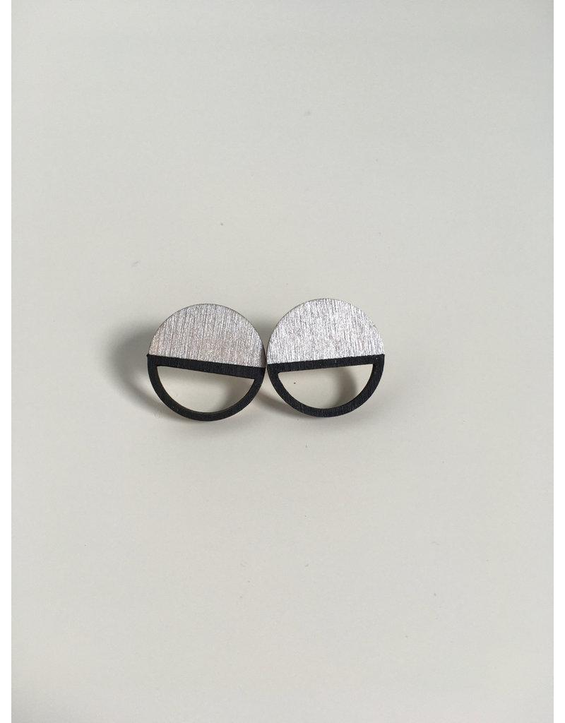MonaLisa Juwelen Oorstekers 'Emptyfull' - groot - zilver - 20mm