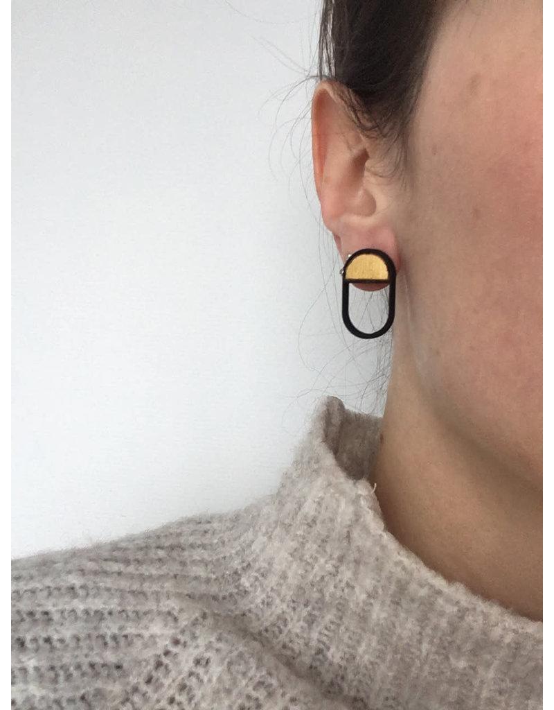 MonaLisa Juwelen Oorsteker 'Emptyfull - ovaal' - goud