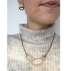 MonaLisa Juwelen Ketting 'Hoops'- cirkels - zwart/goud - kort