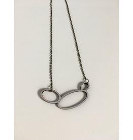 MonaLisa Juwelen Ketting 'Hoops'- cirkels - zwart/zilver - kort