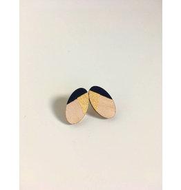 MonaLisa Juwelen Oorsteker 'Oval' klein - goud/zwart