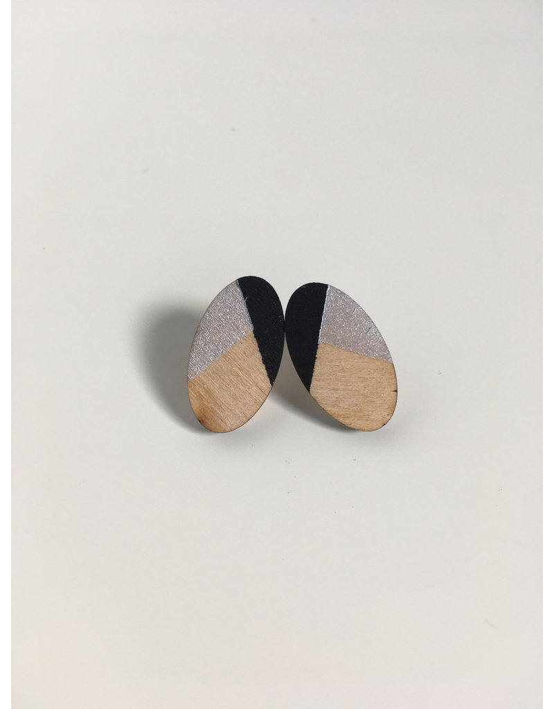 MonaLisa Juwelen Oorsteker 'Oval' klein - zilver/zwart