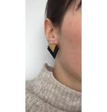 MonaLisa Juwelen Oorstekers 'Double  triangle detail' - goud