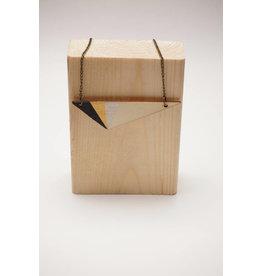 MonaLisa Juwelen Ketting 'triangle' - zwart-goud-zilver - 8cm