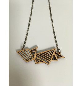 MonaLisa Juwelen Ketting 'Geometric' - goud-zwart