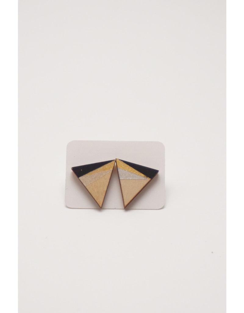 MonaLisa Juwelen Oorsteker 'mini triangle' - zwart-goud-zilver 12mm