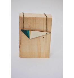 MonaLisa Juwelen Ketting 'Triangle' - petrol - 8cm