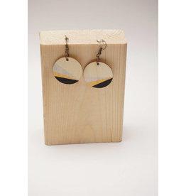 MonaLisa Juwelen Oorhanger 'Rond' - goud-zilver-zwart - 20mm