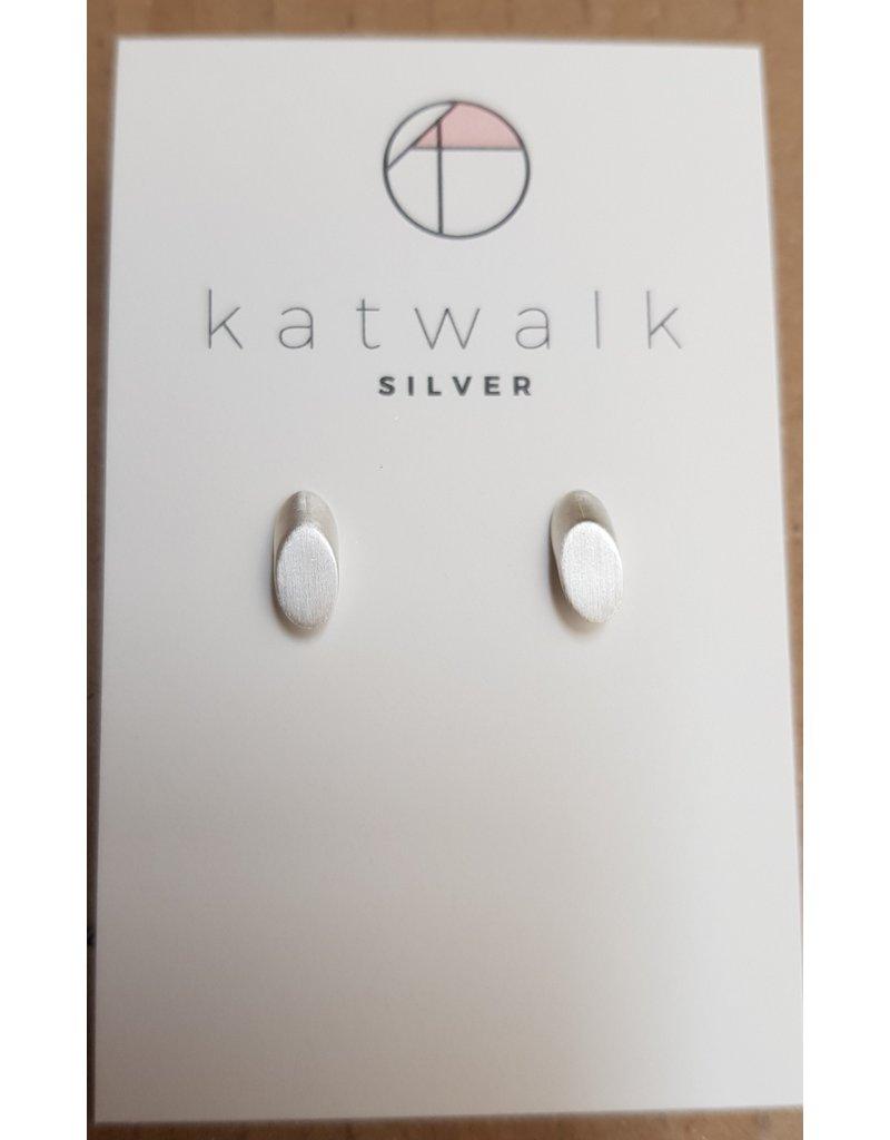 Katwalk Zilver Zilver oorstekers - Vol ovaal