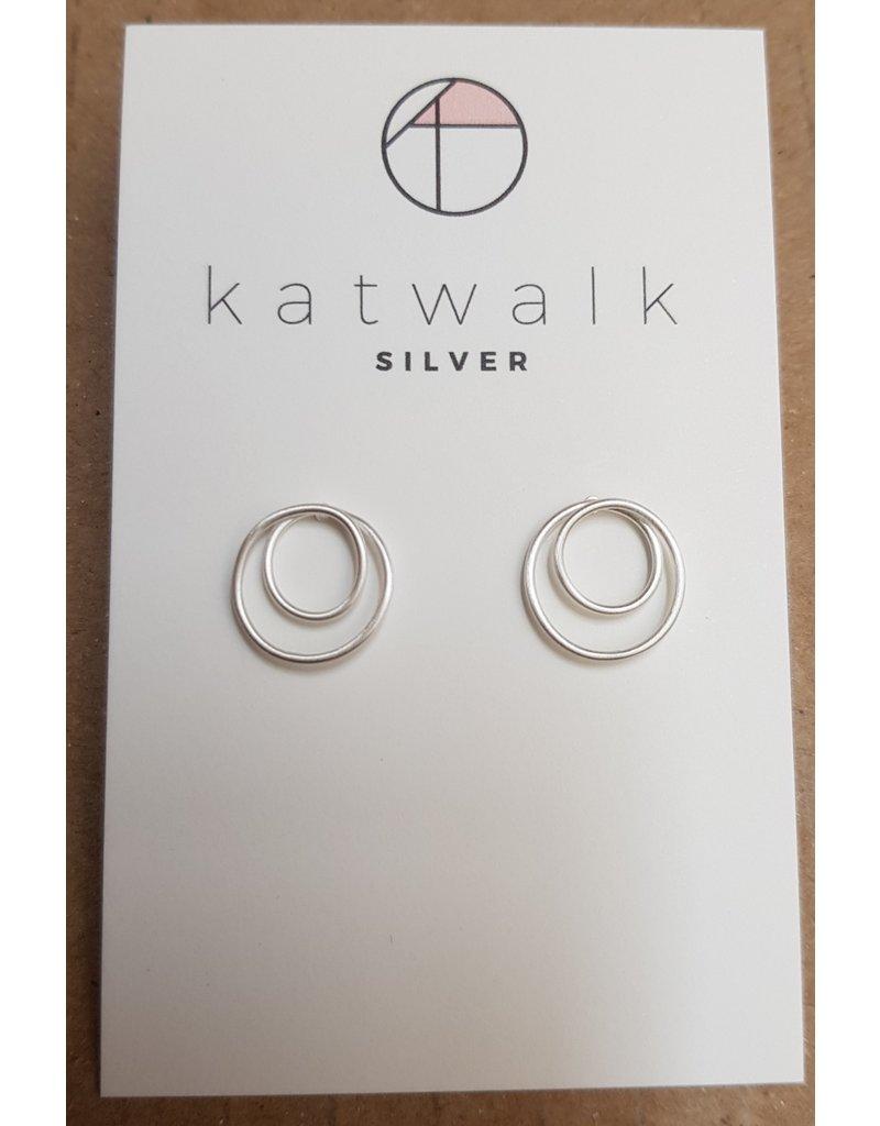Katwalk Zilver Zilver oorstekers - twisted circles