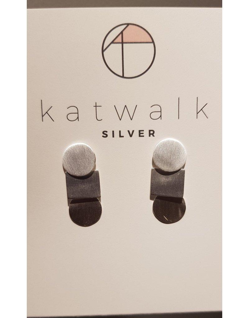 Katwalk Zilver Zilver oorstekers - rond/vierkant/rond