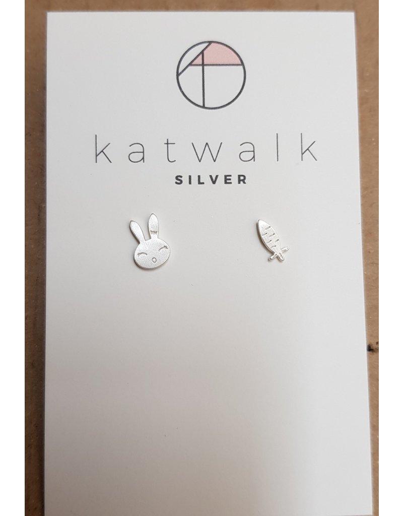 Katwalk Zilver Zilver oorstekers - konijn en wortel
