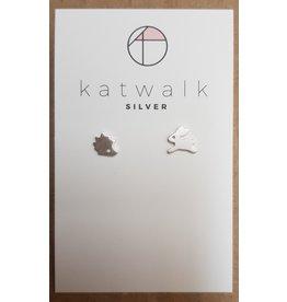 Katwalk Zilver Zilver oorstekers - konijn en egel