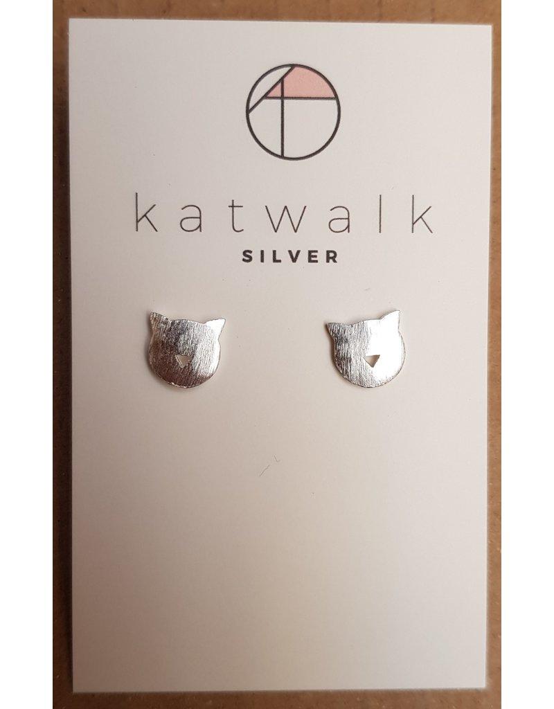 Katwalk Zilver Zilver oorstekers - Katjes