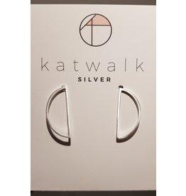 Katwalk Zilver Zilver oorstekers - half moon open