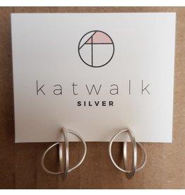 Katwalk Zilver Zilver oorstekers - dubbele ring