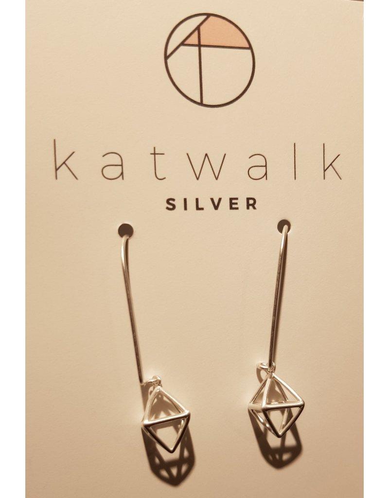 Katwalk Zilver Zilver oorhangers - 3D open blokje