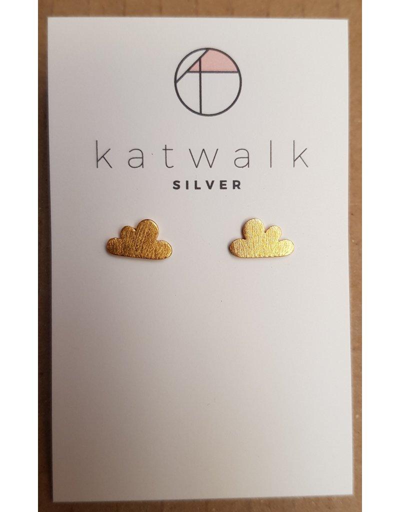 Katwalk Zilver Verguld zilver oorstekers - wolkjes