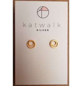 Katwalk Zilver Verguld zilver oorstekers - twisted circles mini