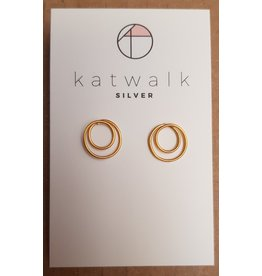 Katwalk Zilver Verguld zilver oorstekers - twisted circles