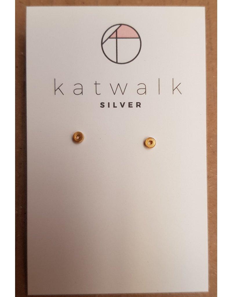 Katwalk Zilver Verguld zilver oorstekers - open rondje mini