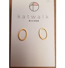 Katwalk Zilver Verguld zilver oorstekers - open ovaal