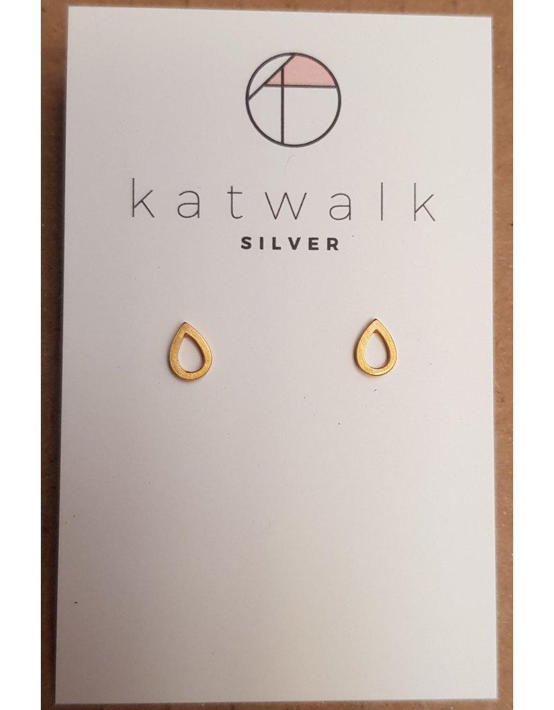 Katwalk Zilver Verguld zilver oorstekers - open druppeltjes
