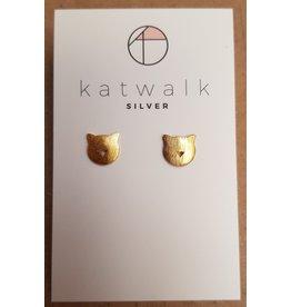 Katwalk Zilver Verguld zilver oorstekers - katjes