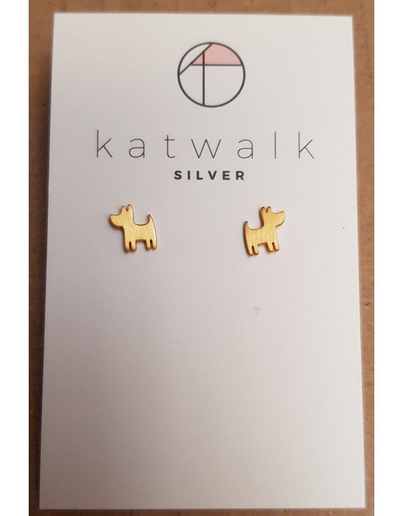 Katwalk Zilver Verguld zilver oorstekers - hondjes