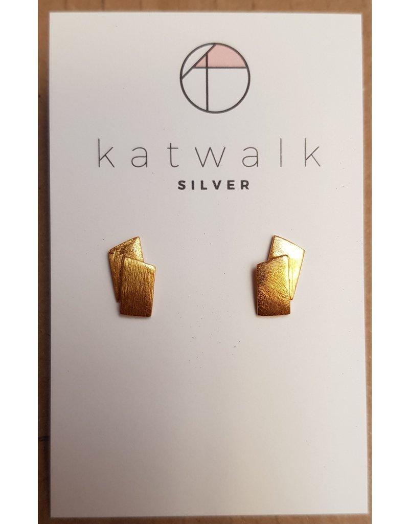 Katwalk Zilver Verguld zilver oorstekers - 2 plaatjes