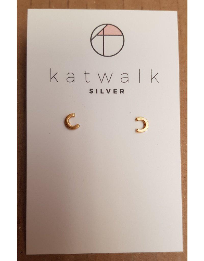 Katwalk Zilver Verguld zilver oorstekers - 'C'