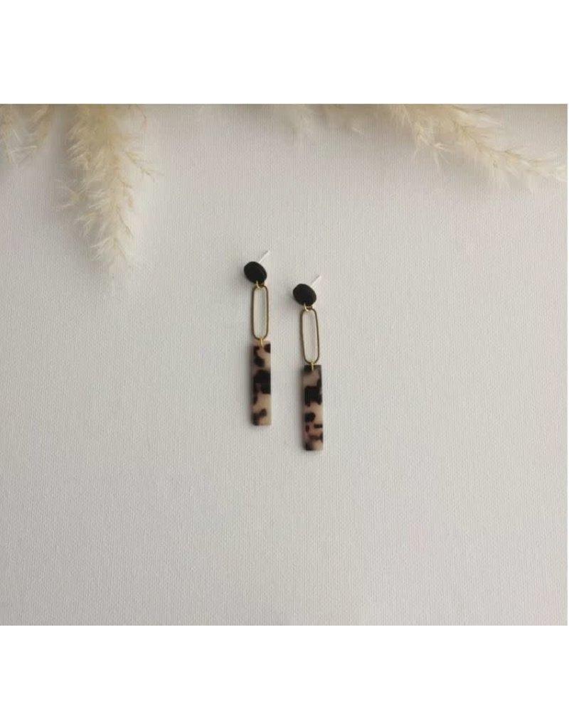 Woood Jewels Oorsteker hout/resin/messing - Mila
