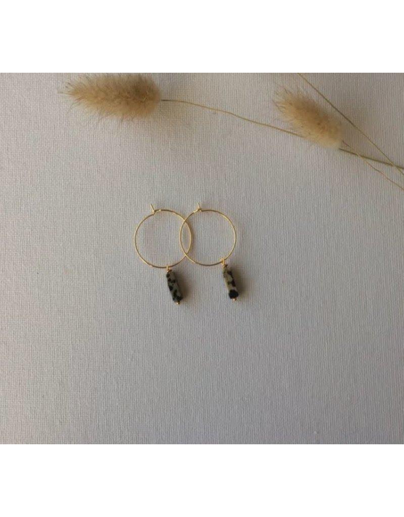 Woood Jewels Oorringen met kraal - Jaspi hoops