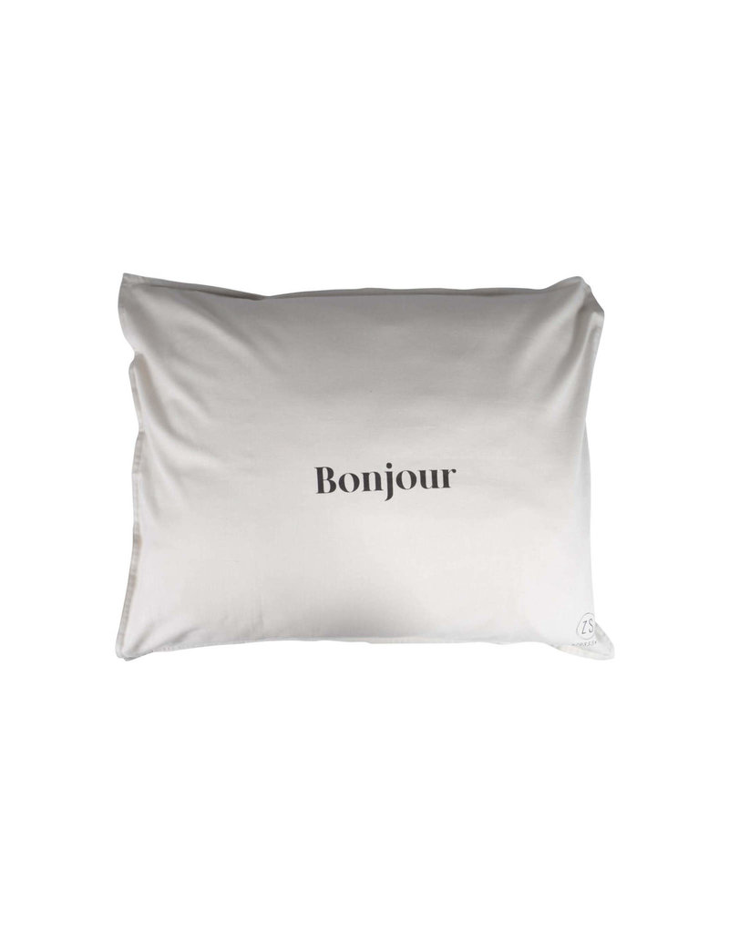 Zusss Kussensloop 'Bonjour' - warm grijs