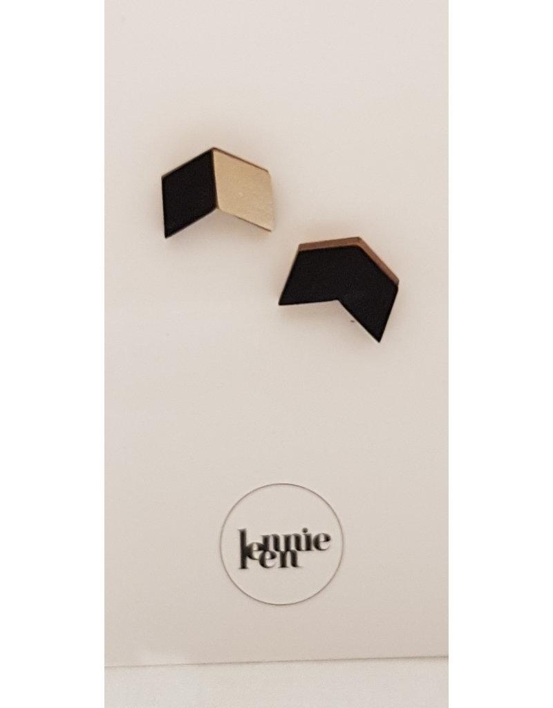 Lennie Leen Oorstekers - houten vlinders leder zwart/hout