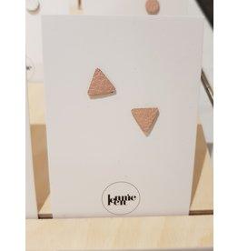 Lennie Leen Oorstekers - Leder roze driehoekje