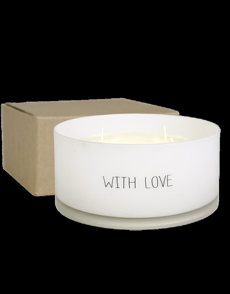 My Flame Lifestyle Grote geurkaars met 4 lonten - 'With Love'