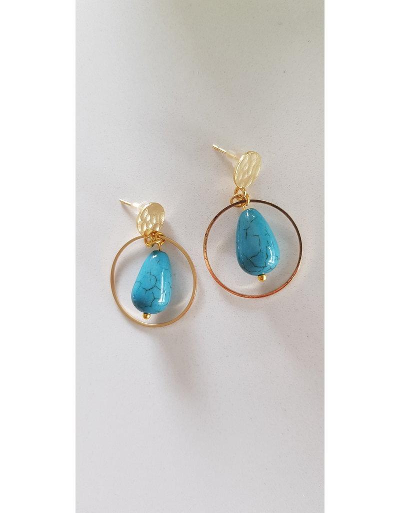 Maison Delclef Oorsteker druppelsteen blauw met vergulde ring