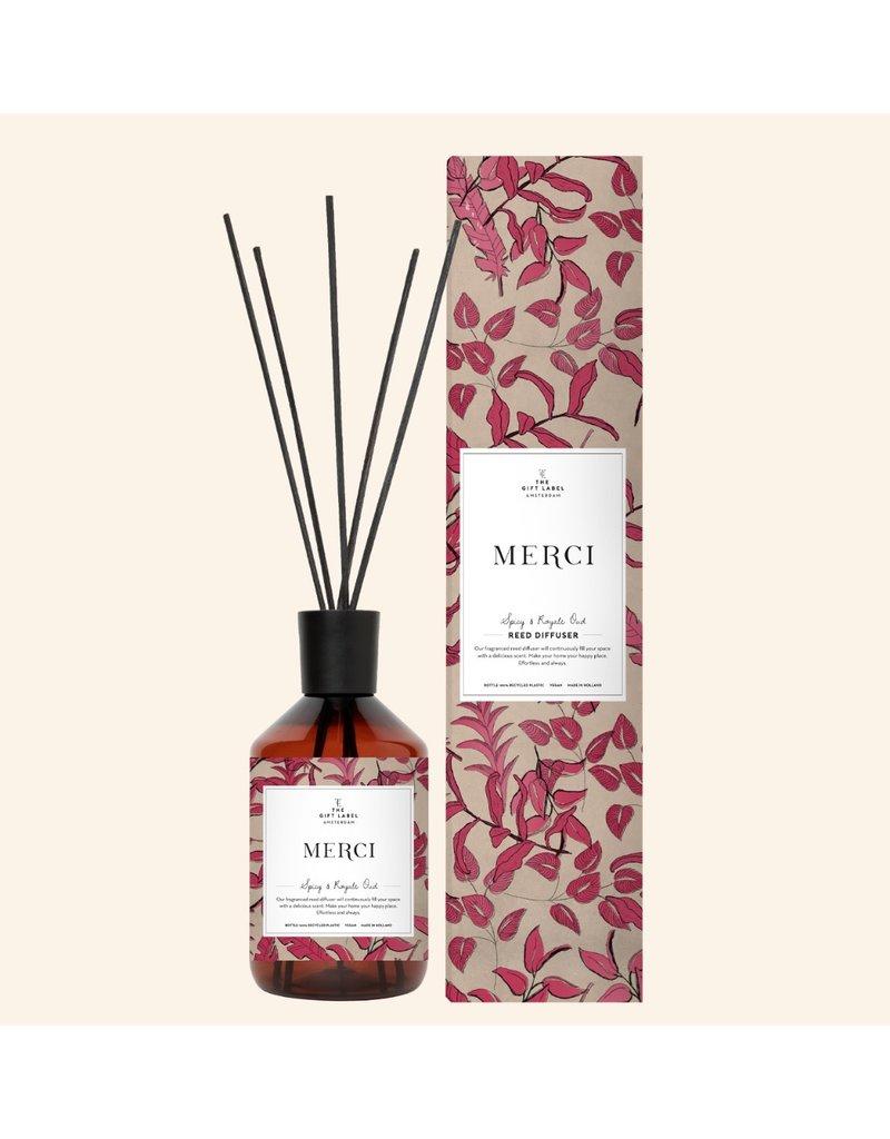 The Gift Label Huisparfum met geurstokjes - Merci