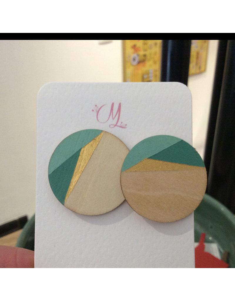 MonaLisa Juwelen Houten oorsteker 30 mm shade of mint