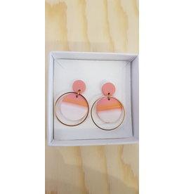 MonaLisa Juwelen Oorsteker klei 'Summer' -pink-peach-wit