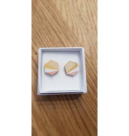 MonaLisa Juwelen Oorstekers 'Hexagon'- roze - 15 mm