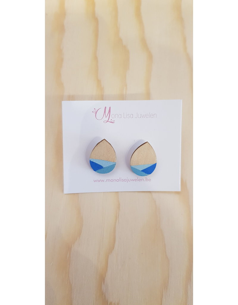 MonaLisa Juwelen Oorstekers 'Drop' - blauw - 12mm