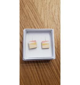 MonaLisa Juwelen Oorstekers 'Vierkant'- roze - 12 mm