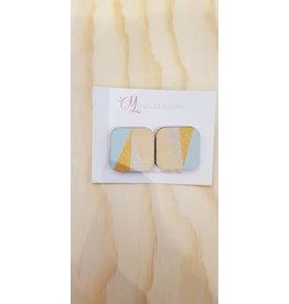 MonaLisa Juwelen Oorstekers 'Vierkant' - lichtblauw/goud/zilver - 20 mm
