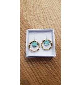 MonaLisa Juwelen Oorstekers 'double dot' - mint 20 x 20 mm