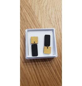 MonaLisa Juwelen Oorstekers 'rechthoek-vierkant' - zwart/goud