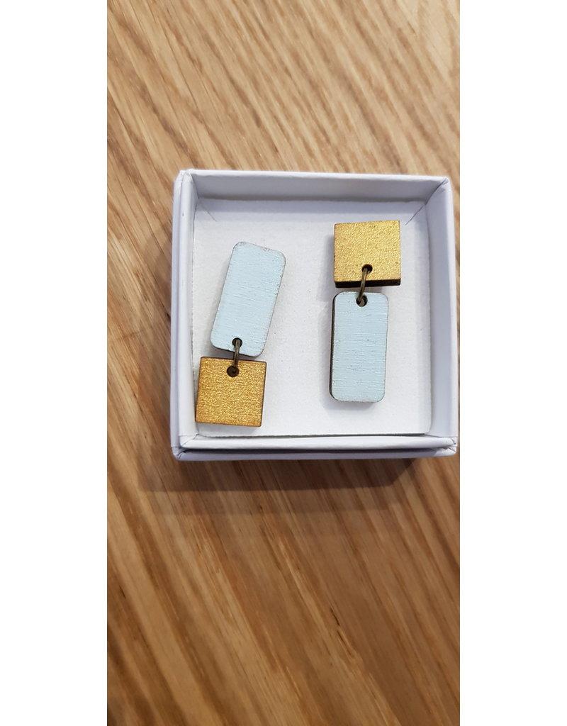 MonaLisa Juwelen Oorstekers 'rechthoek-vierkant' - lichtblauw/goud
