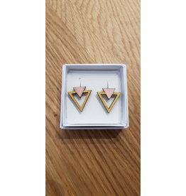 MonaLisa Juwelen Oorstekers '2 driehoek open' - roze